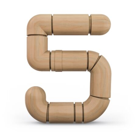 Number 5. Digital sign. Wooden futuristic font. Carved alphabet 3d rendering