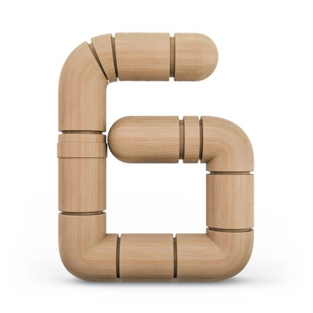 Number 6. Digital sign. Wooden futuristic font. Carved alphabet 3d rendering Banco de Imagens