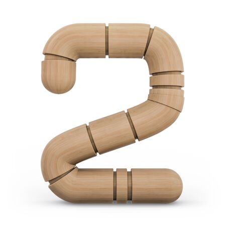 Number 2. Digital sign. Wooden futuristic font. Carved alphabet 3d rendering
