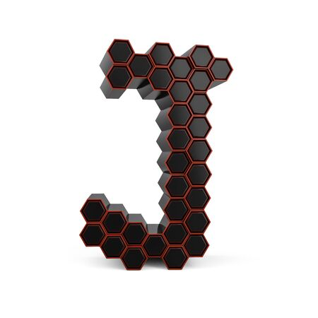 Capital letter J. Uppercase. Black glossy abstract honeycomb font. 3D rendering