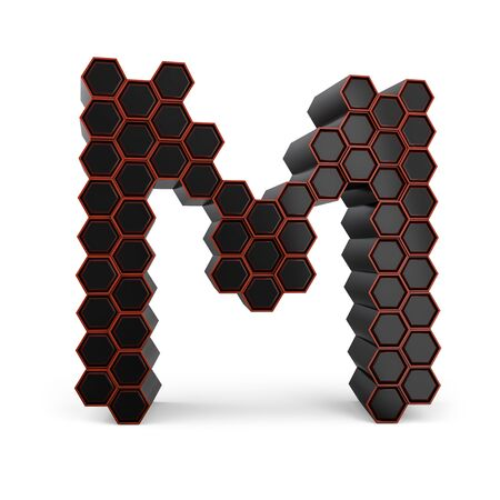 Capital letter M. Uppercase. Black glossy abstract honeycomb font. 3D rendering Banco de Imagens
