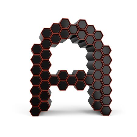 Capital letter A. Uppercase. Black glossy abstract honeycomb font. 3D rendering Banco de Imagens