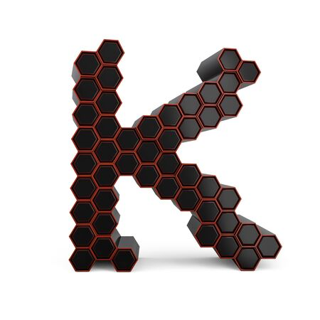 Capital letter K. Uppercase. Black glossy abstract honeycomb font. 3D rendering Banco de Imagens