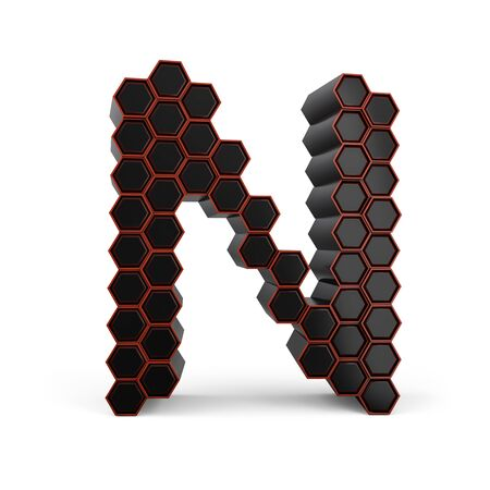 Capital letter N. Uppercase. Black glossy abstract honeycomb font. 3D rendering Banco de Imagens