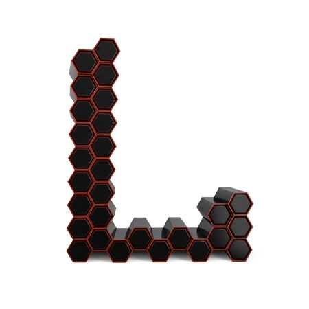 Capital letter L. Uppercase. Black glossy abstract honeycomb font. 3D rendering