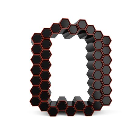 Capital letter O. Uppercase. Black glossy abstract honeycomb font. 3D rendering