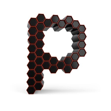Capital letter P. Uppercase. Black glossy abstract honeycomb font. 3D rendering