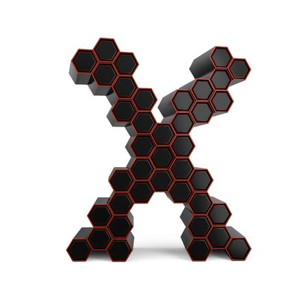 Capital letter X. Uppercase. Black glossy abstract honeycomb font. 3D rendering