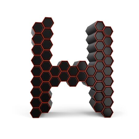Capital letter H. Uppercase. Black glossy abstract honeycomb font. 3D rendering