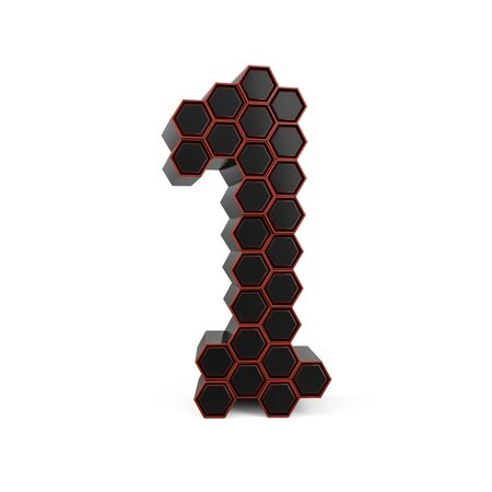Number 1. Digital sign. Black glossy abstract honeycomb font. 3D rendering