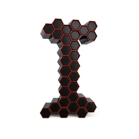 Capital letter I. Uppercase. Black glossy abstract honeycomb font. 3D rendering