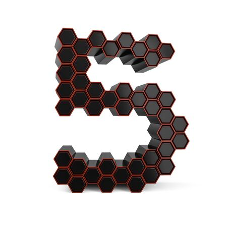 Number 5. Digital sign. Black glossy abstract honeycomb font. 3D rendering