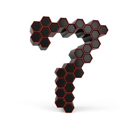 Number 7. Digital sign. Black glossy abstract honeycomb font. 3D rendering