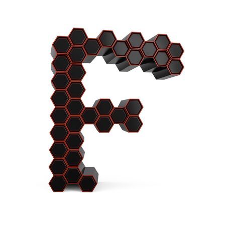 Capital letter F. Uppercase. Black glossy abstract honeycomb font. 3D rendering