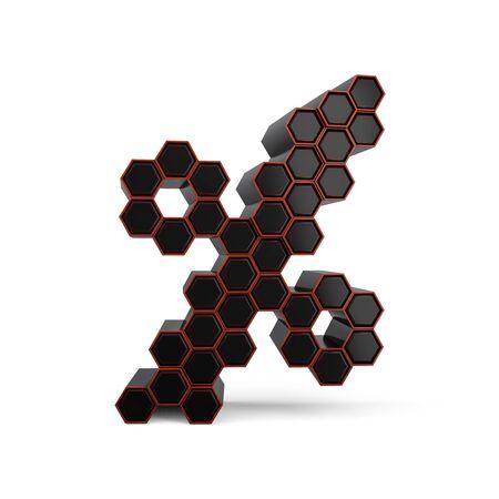 Percent symbol. Digital sign. Black glossy abstract honeycomb font. 3D rendering