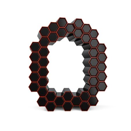 Number 0. Digital sign. Black glossy abstract honeycomb font. 3D rendering