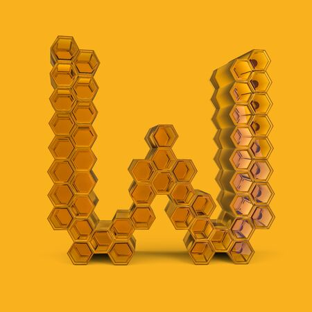 Capital letter W. Uppercase. Honey font on a yellow background. 3D rendering