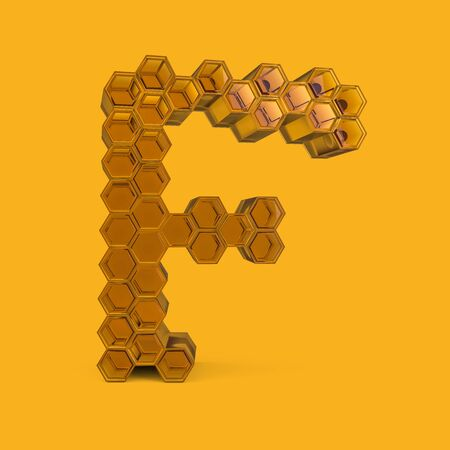 Capital letter F. Uppercase. Honey font on a yellow background. 3D rendering
