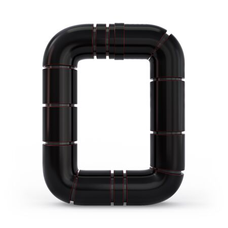 Number 0. Digital sign. Metallic futuristic black font. Mechanical alphabet. 3d rendering.