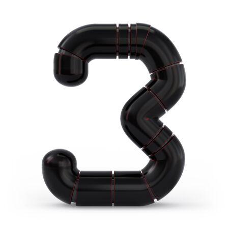 Number 3. Digital sign. Metallic futuristic black font. Mechanical alphabet. 3d rendering.