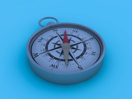 Vintage compass isolated on blue background. 3D rendering Stockfoto