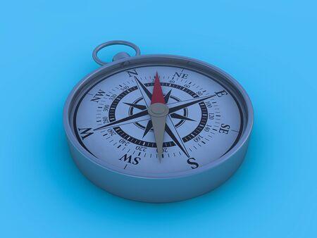 Vintage Kompass auf blauem Hintergrund isoliert. 3D-Rendering Standard-Bild