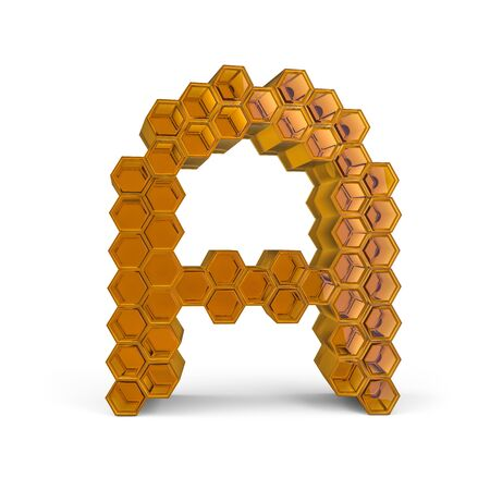 Capital letter A. Uppercase. Orange glossy abstract honeycomb font. 3D rendering