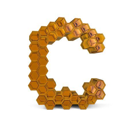Lettre majuscule C. Majuscule. Police en nid d'abeille abstrait brillant orange. rendu 3D Banque d'images