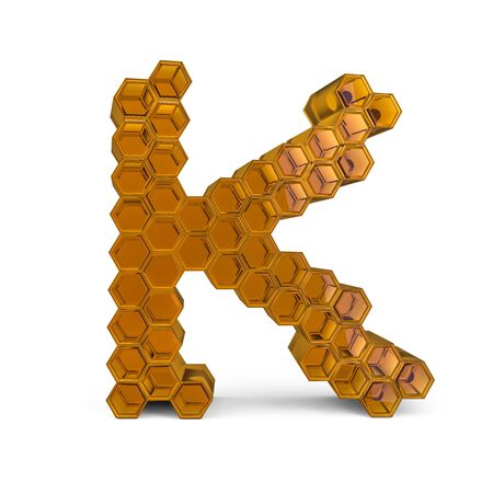Capital letter K. Uppercase. Orange glossy abstract honeycomb font. 3D rendering