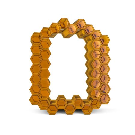 Capital letter O. Uppercase. Orange glossy abstract honeycomb font. 3D rendering