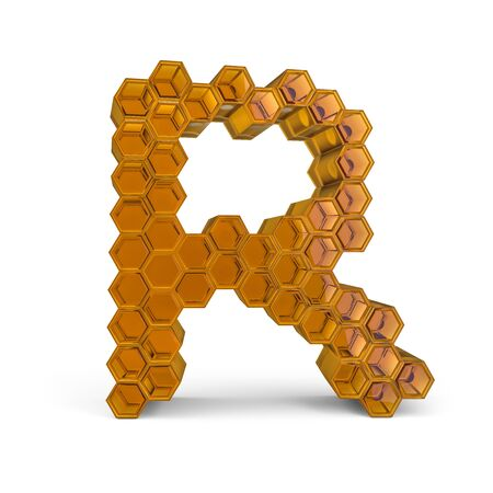 Capital letter R. Uppercase. Orange glossy abstract honeycomb font. 3D rendering