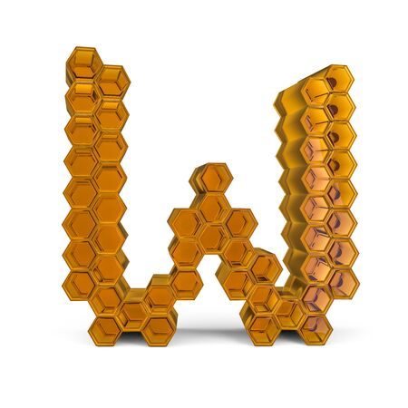 Capital letter W. Uppercase. Orange glossy abstract honeycomb font. 3D rendering