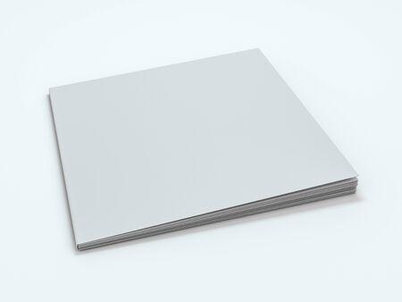 Blank photorealistic brochure mockup on white background. 3D rendering
