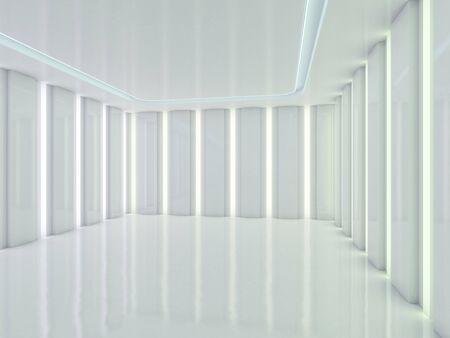 Abstracte moderne architectuurachtergrond, leeg open plekbinnenland. 3D-weergave Stockfoto