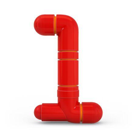 Number 1. Digital sign. Metallic futuristic red font. Mechanical alphabet. 3d rendering.