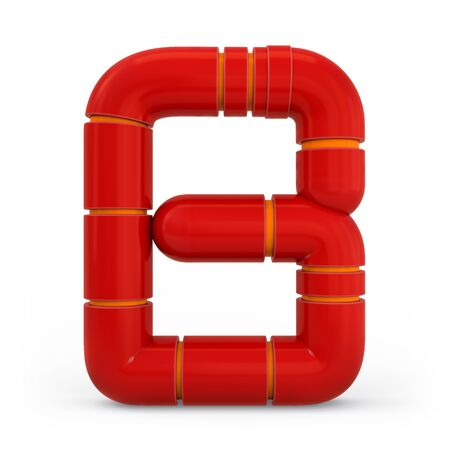 Number 8. Digital sign. Metallic futuristic red font. Mechanical alphabet. 3d rendering. Stock Photo