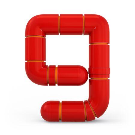 Number 9. Digital sign. Metallic futuristic red font. Mechanical alphabet. 3d rendering.