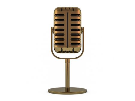 Retro gold microphone isolated on white background. 3D rendering
