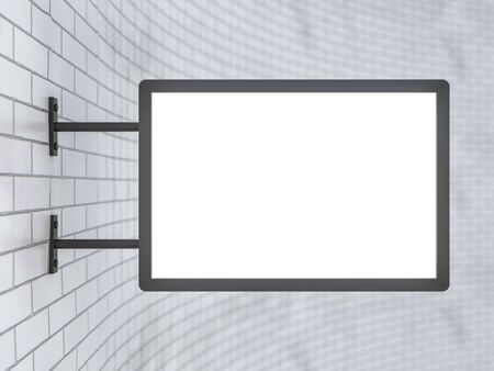Blank, white rectangular shop sign hanging on a white wall. 3D rendering Stock fotó