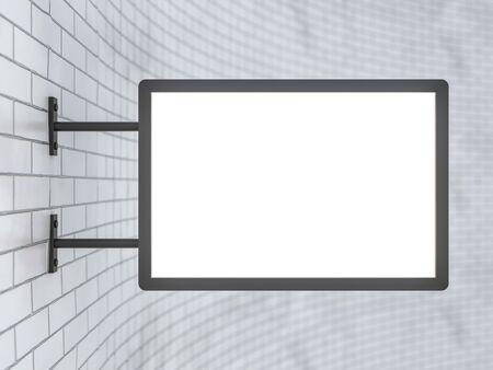 Leeres, weißes rechteckiges Ladenschild, das an einer weißen Wand hängt. 3D-Rendering Standard-Bild