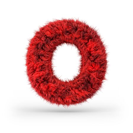 Capital letter O. Uppercase. Red fluffy and furry font. 3D rendering