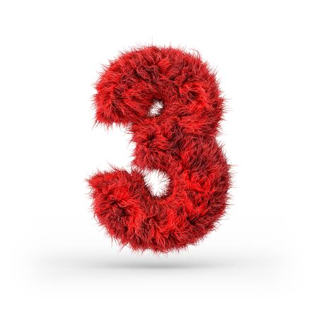 Number 3. Digital sign. Red fluffy and furry font. 3D rendering