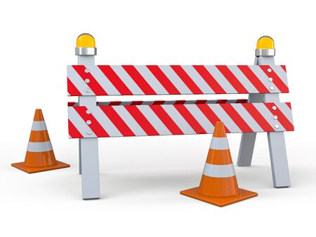 Signs of road work. Hazard warning. 3D rendering Imagens