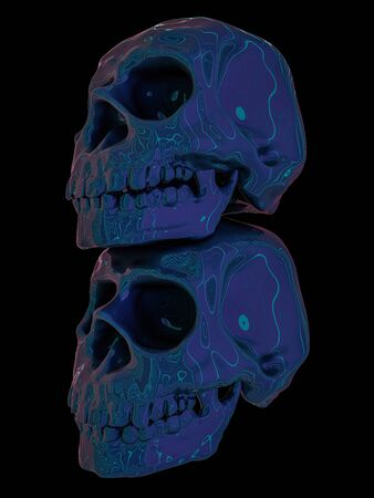 Abstract human skull on a black background. 3D rendering Фото со стока
