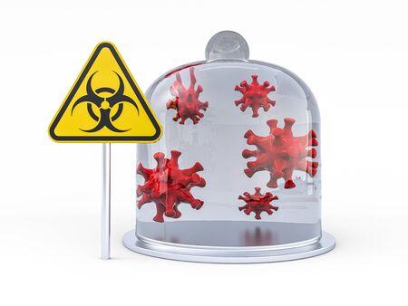 Virus COVID-19, pandemic risk alert. Biohazard sign. Warning sign of virus. 3D rendering