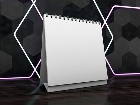Empty desk calendar. Mockup design luxury concept. 3D rendering 版權商用圖片