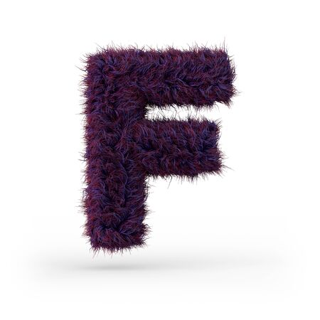 Capital letter F. Uppercase. Purple fluffy and furry font. 3D rendering Banco de Imagens