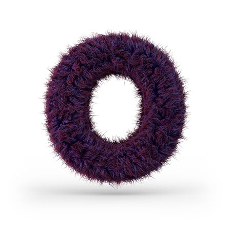 Capital letter O. Uppercase. Purple fluffy and furry font. 3D rendering