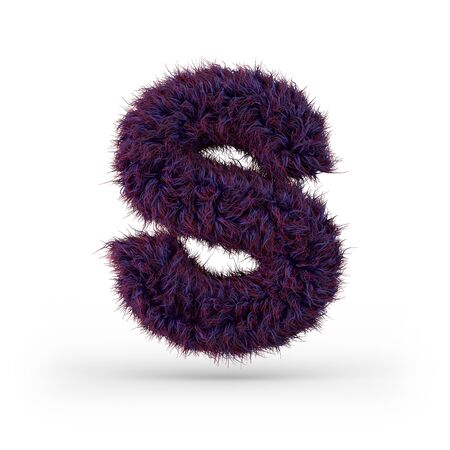 Capital letter S. Uppercase. Purple fluffy and furry font. 3D rendering Zdjęcie Seryjne