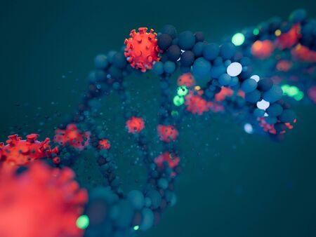 Covid-19. Pathogen respiratory coronavirus 2019-ncov flu. Virus attacks DNA. 3D rendering